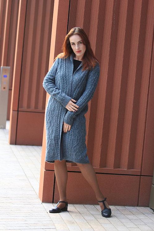 Classic Cardigan Women Aran Tweed Merino Knee Length