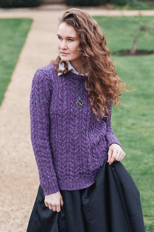 Jumper aran knitted merino wool purple