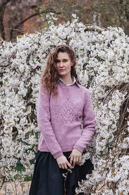 Aran Tweed Jumper with Celtic Knot Ornament in Pale Pink