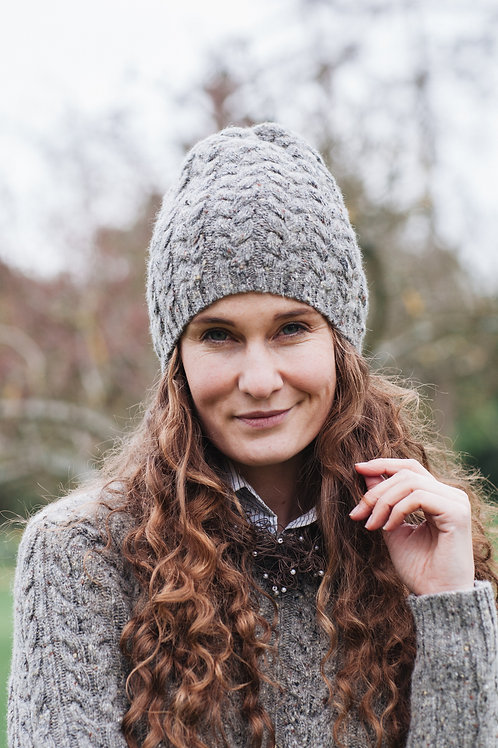 Cable Knitted Hat Merino Wool Tweed Unisex.
