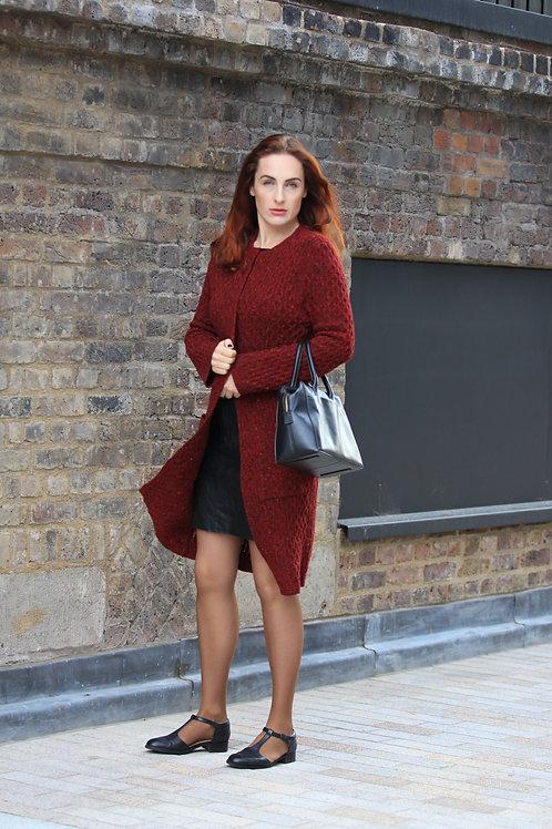 Cardigan Knitted Merino Wool Red Tweed Winter Long