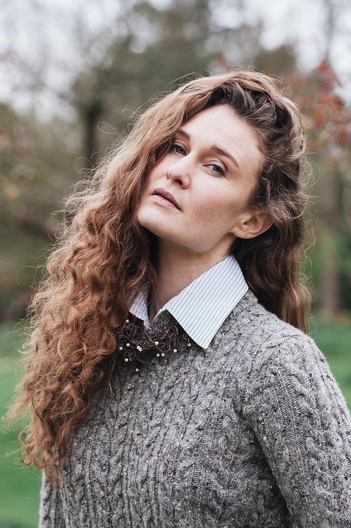 Cable knit jumper knitted jumper wool jumper unisex women men grey merino wool I