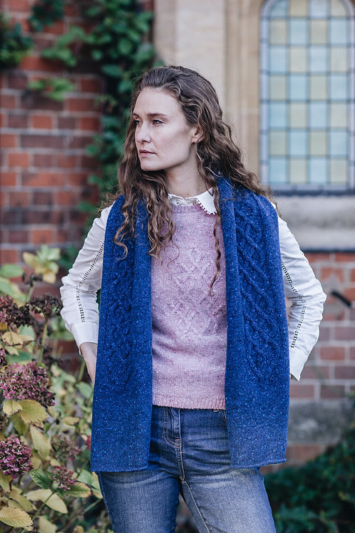 Beautifully Knitted Blue Aran Scarf.