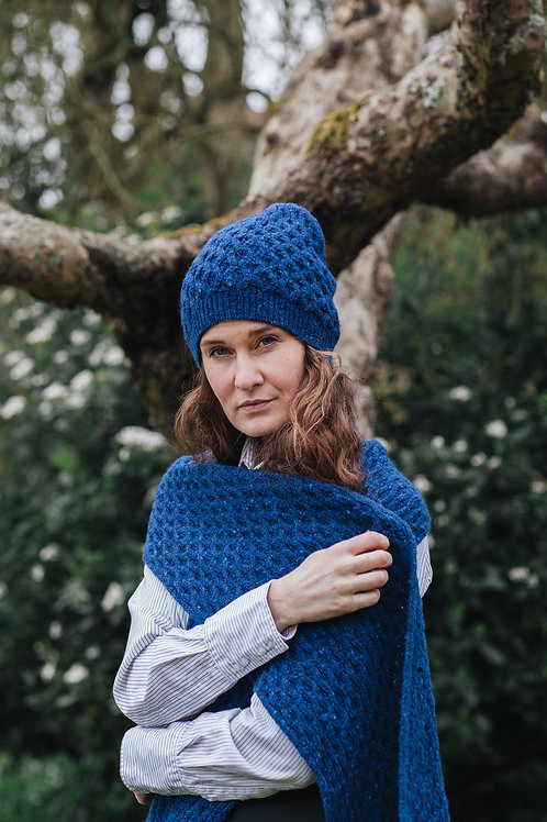 Scarf Knitted Tweed Merino Wool Blue Aran Women Men Unisex