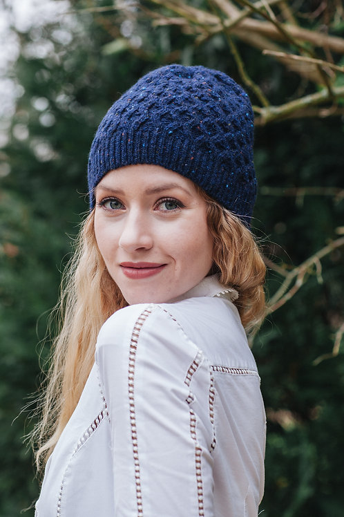 Dark Blue hat knitted winter warm aran cable tweed