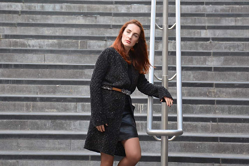 Cardigan Knitted Merino Wool Black Tweed Winter Long Wave Pattern Knee Knee Leng