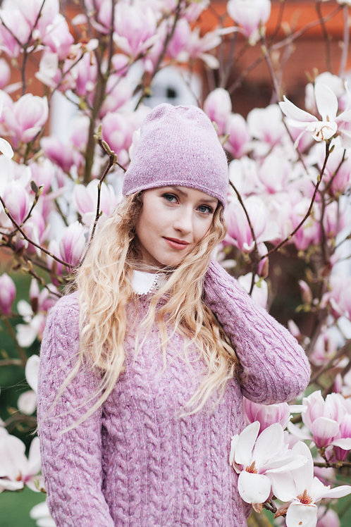 Pink knitted winter hat tweed aran women
