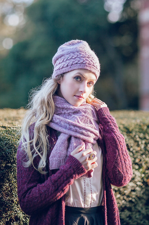 Beautifully knitted pink scarf