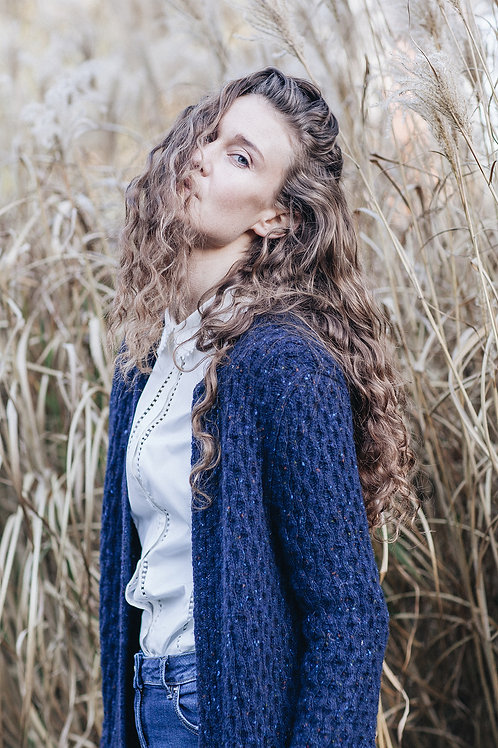 Knitted Aran Cardigan Dark Blue