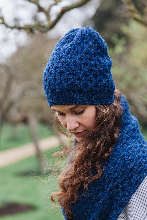 Winter Hat Merino Wool Tweed Unisex Blue