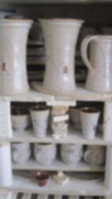hand made pots after the firing