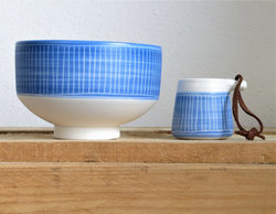 porcelain bowl and gin measure