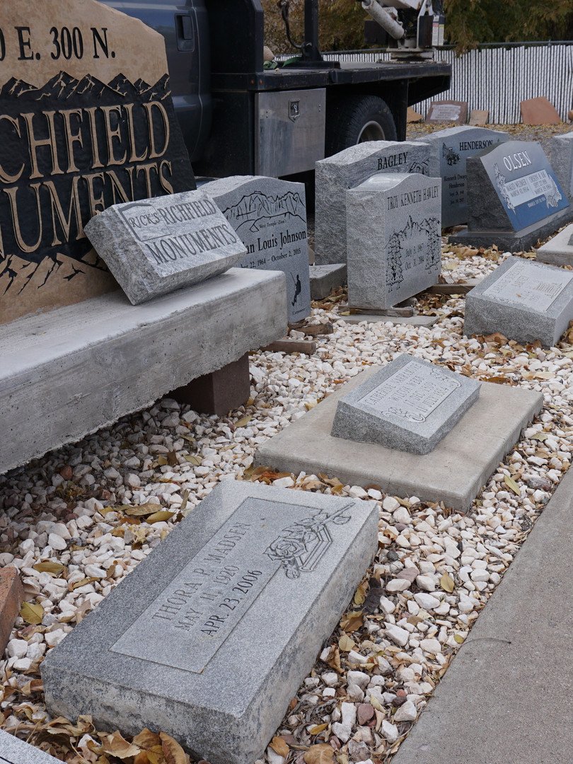 Slection of Upright, Slant, Grasser, Specialty, Bench Headstones