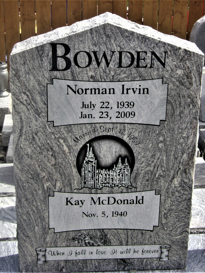 Bowden Upright Headstone