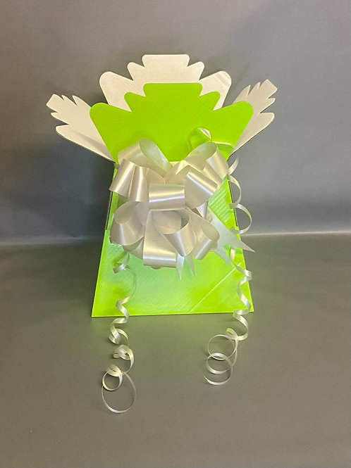Lime Green Bouquet Box & Silver Pull Bow for Sweet/Chocolate Bouquet