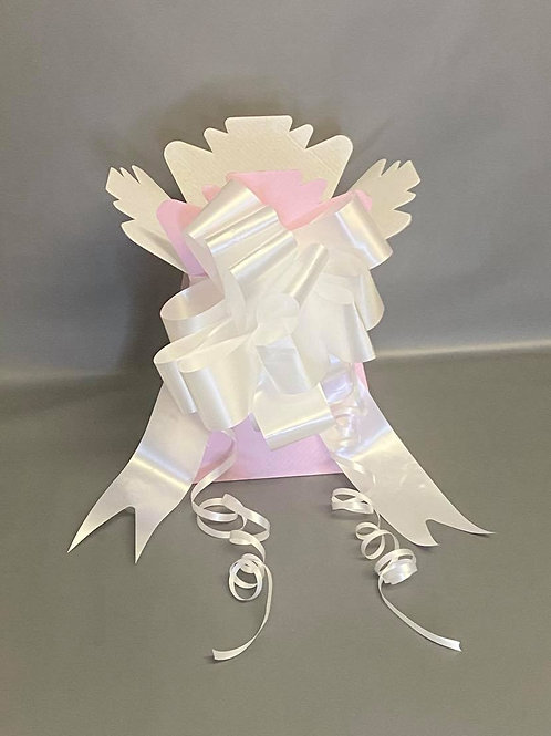 Baby Pink Bouquet Box & White Pull Bow for Sweet/Chocolate Bouquet
