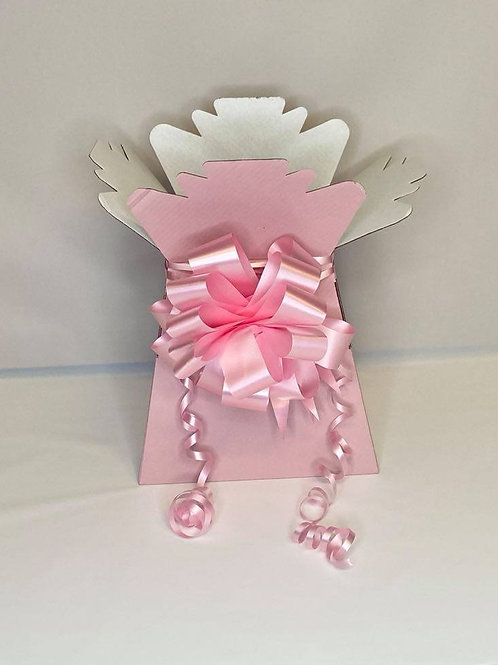 Vintage Pink Bouquet Box & Pink Pull Bow for Sweet/Chocolate Bouquet, fl