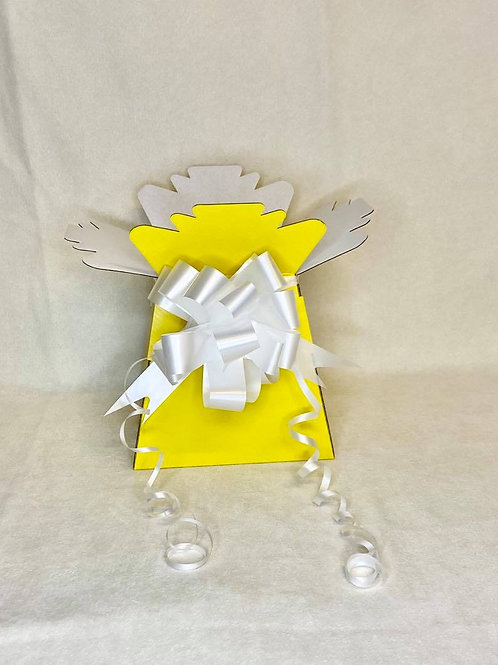 Yellow Bouquet Box & White Pull Bow for Sweet/Chocolate Bouquet
