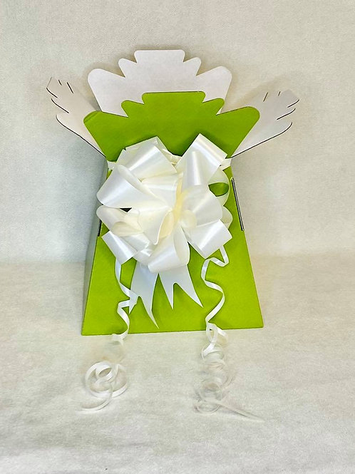Olive Green Bouquet Box & Ivory Pull Bow for Sweet/Chocolate Bouquet