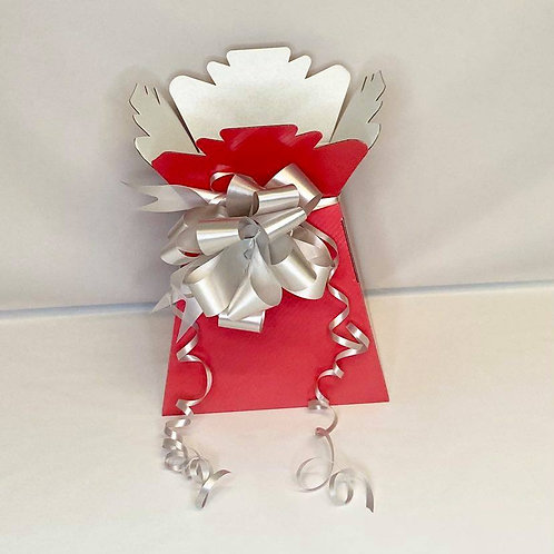 Red Bouquet Box & Silver Pull Bow for Sweet/Chocolate Bouquet