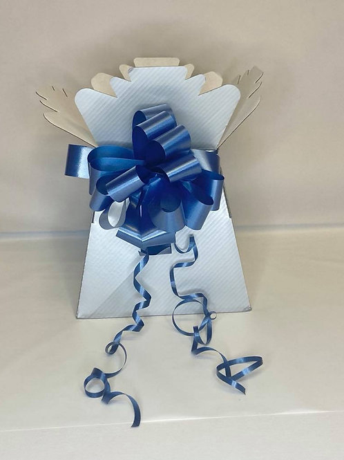 Silver Bouquet Box & Navy Blue Pull Bow for Sweet/Chocolate Bouquet