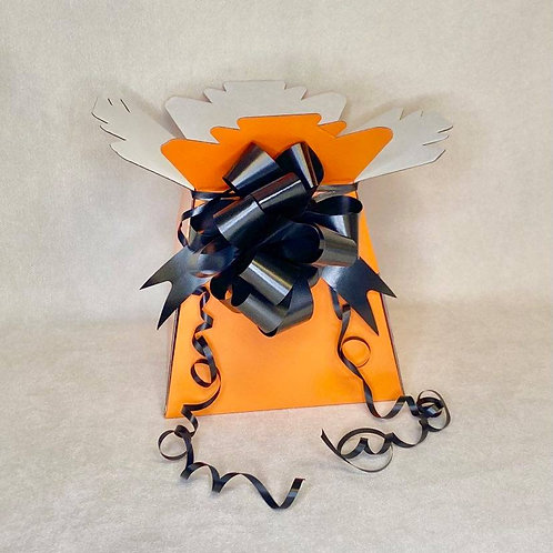 Orange Bouquet Box & Black Pull Bow for Sweet/Chocolate Bouquet