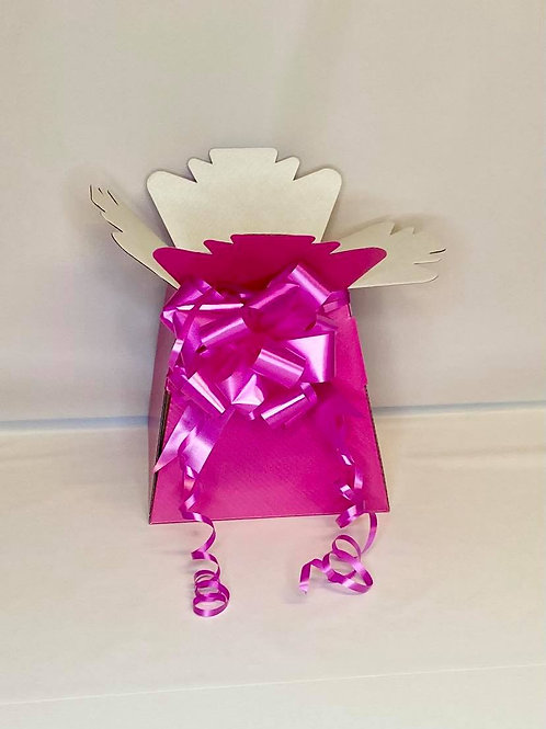Fuchsia Pink Bouquet Box & Pink Pull Bow for Sweet/Chocolate Bouquet
