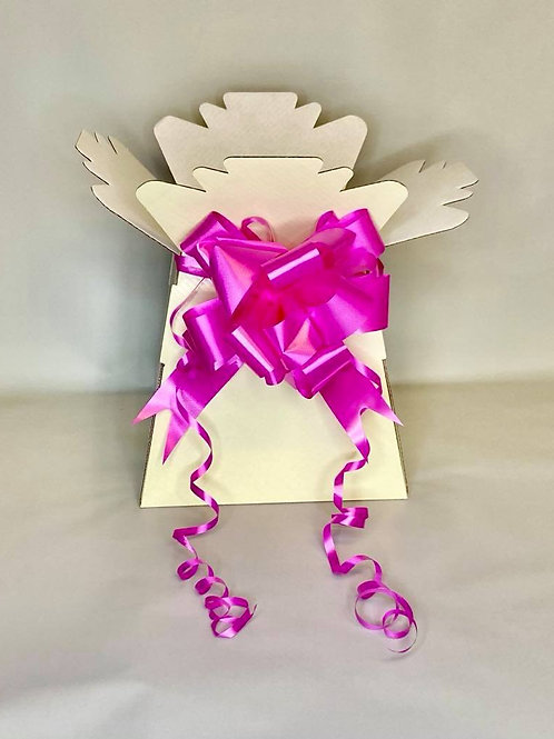 Ivory Bouquet Box & fuchsia pink Pull Bow for Sweet/Chocolate Bouquet