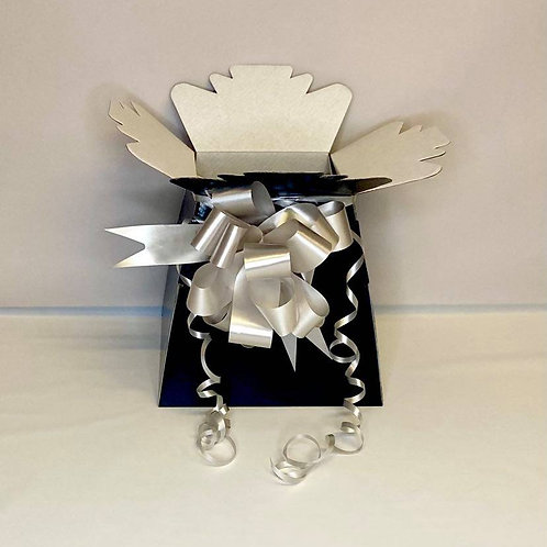 Black Bouquet Box & Silver Pull Bow for Sweet/Chocolate Bouquet