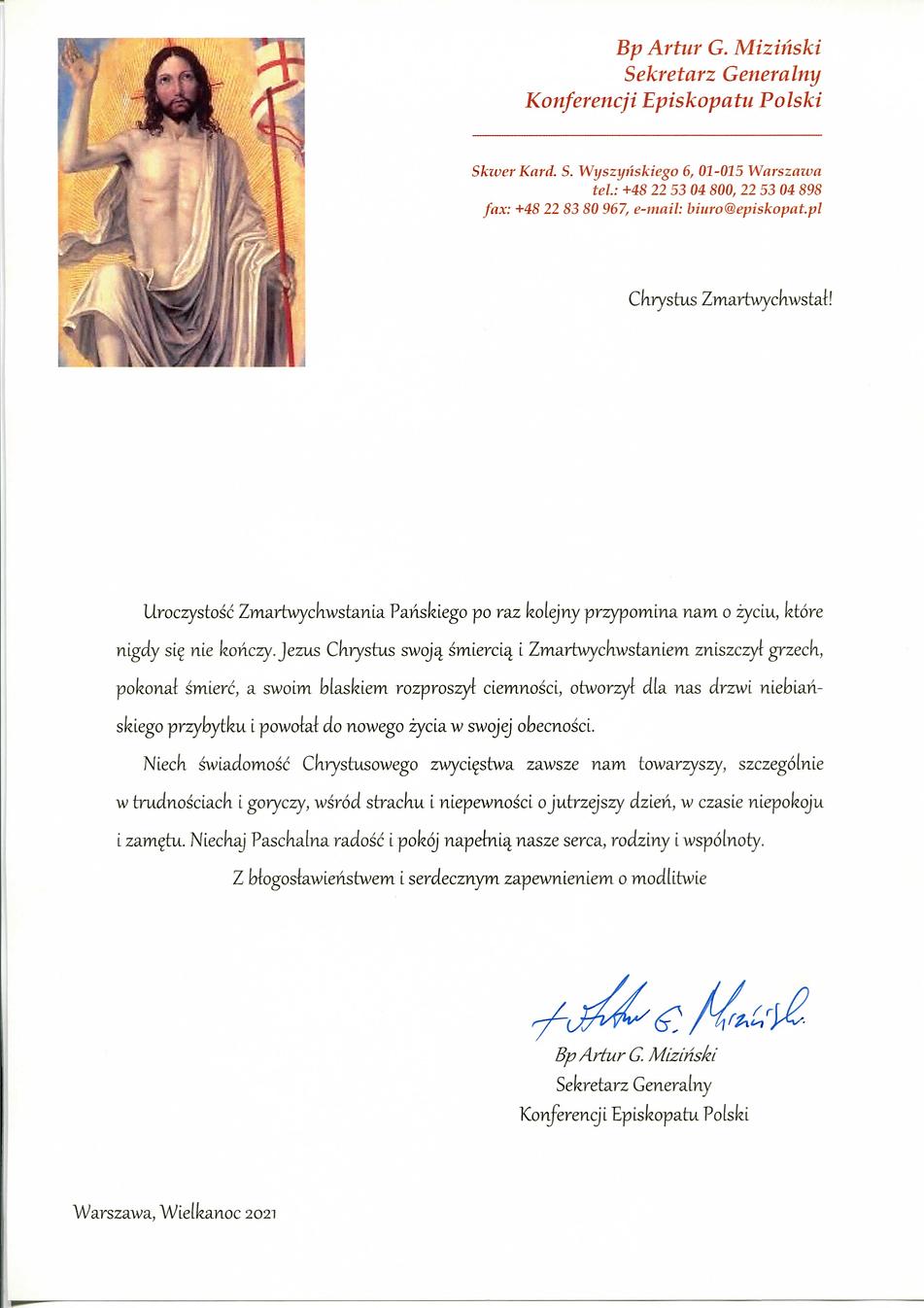 Bp Artur G. Miziński-Życzenia Wielkanocn