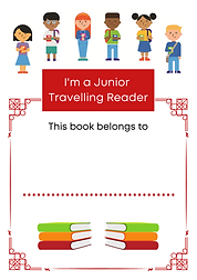 a7 bookplate for Junior travelling reade
