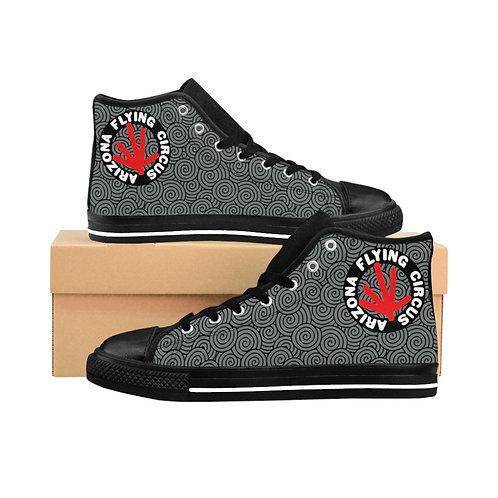Men's High-top Sneakers, Black with Grey Print