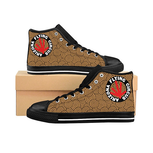 Men's High-top Sneakers, Black with Brown Print