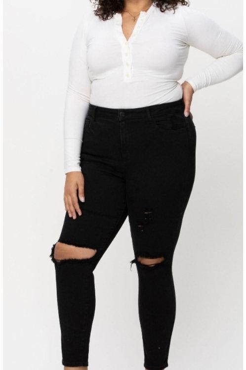 Black Plus Distressed Jeans