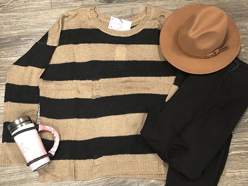 Mocha Distressed Sweater