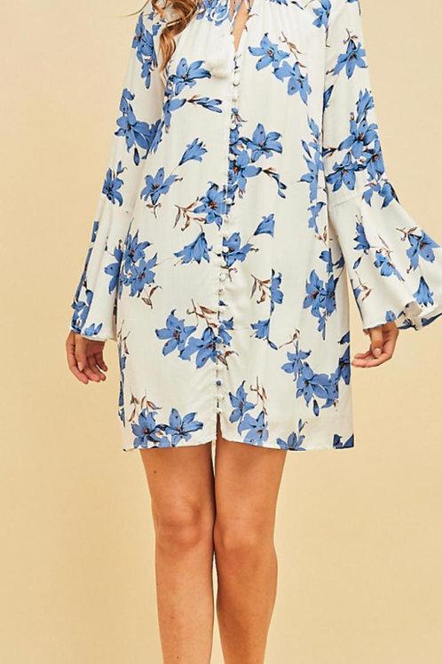 Floral Impressions Blue Dress