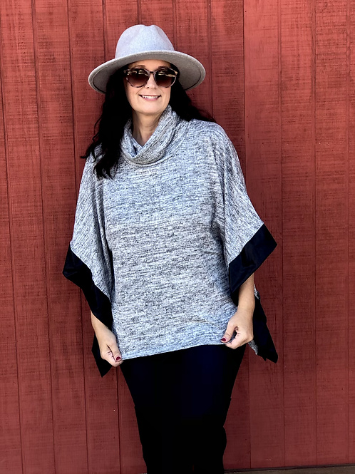 Cowl Poncho w/ Liquid leather Trim