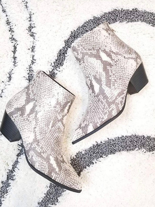 Snake/Taupe Boots
