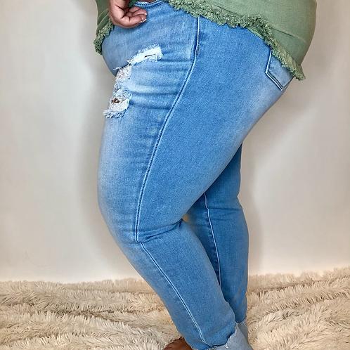 High Rise Cuffed Jeans