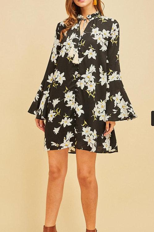 Floral Impressions Black Dress