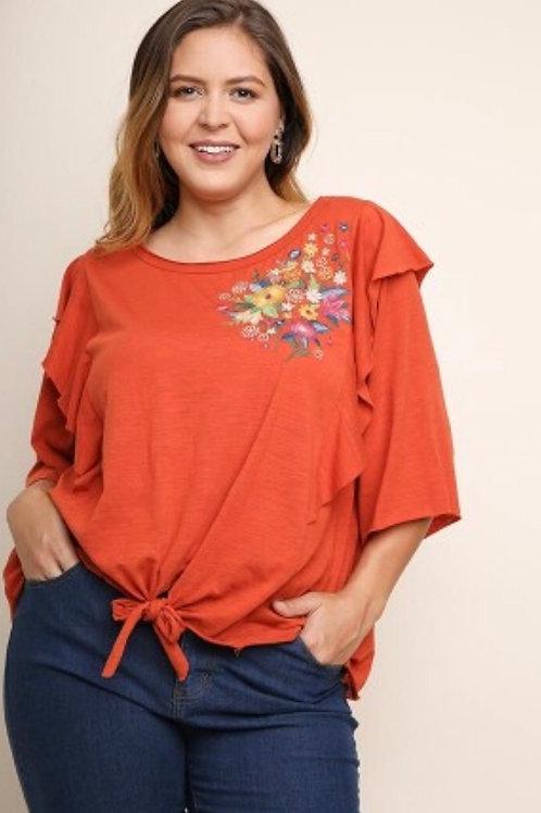 Orange Floral Top