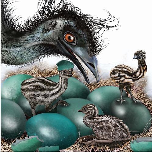 AUSTRALIANA GREETING CARD - Emu Family