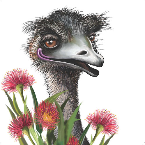 AUSTRALIANA GREETING CARD - Emu with Flowers