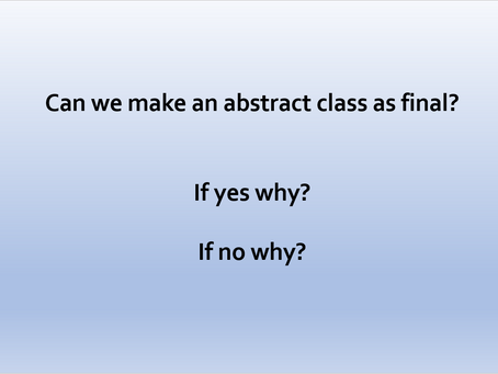 Can we make an abstract class as final?