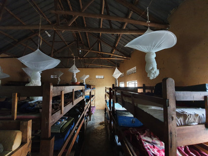 Mosquito nets in the school dormitory