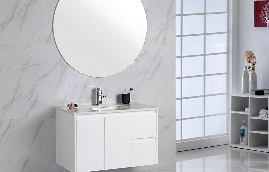 White Wall Hung Vanity 900mm