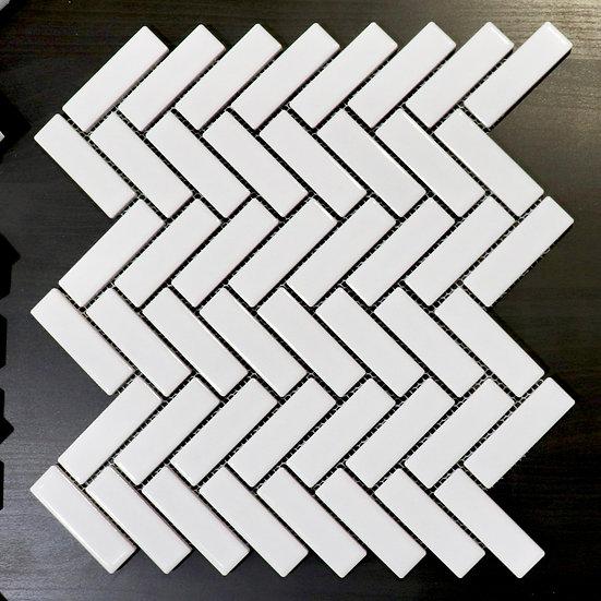 Gloss White Herringbone Mosaic Tile 298x298mm