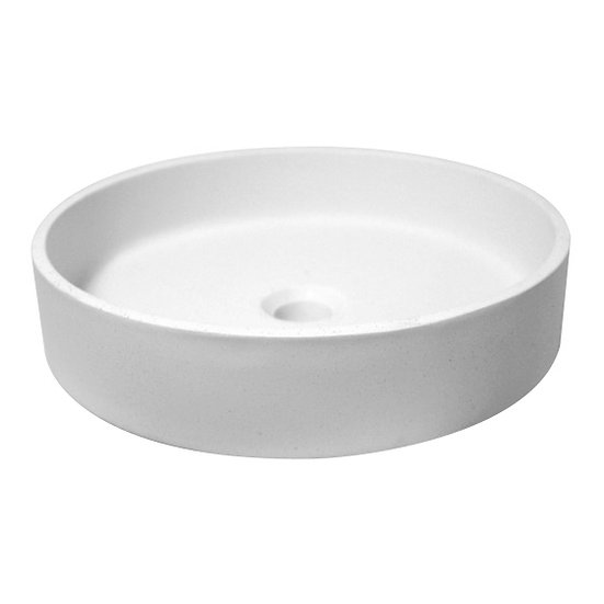 Round Solid Surface Basin 415mm in Pebble