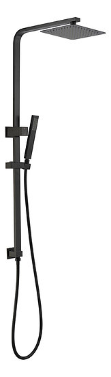 Black Square Multi Function Twin Shower Rail