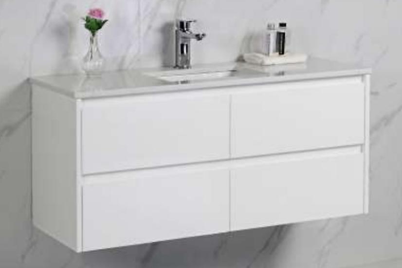 White Soft Close Wall Hung Vanity 1200mm